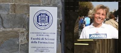 L'università di Bergamo e nel riquadro Alessandra Szego, finita nei guai per dei post sui social network